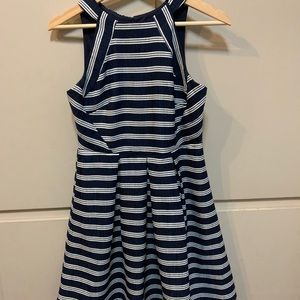 High neck fit and flare dress